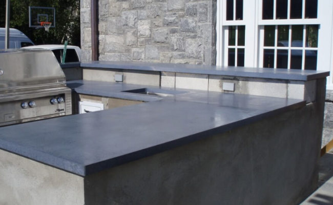 Outdoor Kitchen Concrete Countertops, Staining Outdoor Concrete Countertops